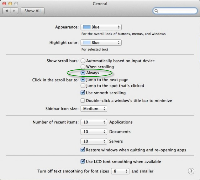 How I can fix hidden scroll bars on Mac ? - DocControl